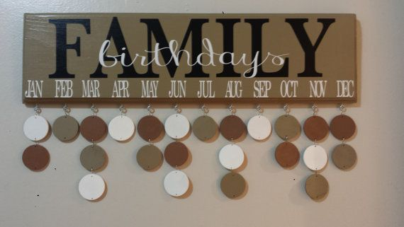 Family birthdays wood birthday calendar black white grey on etsy 40 00 crafts pinterest birthday calendar woods and birthdays