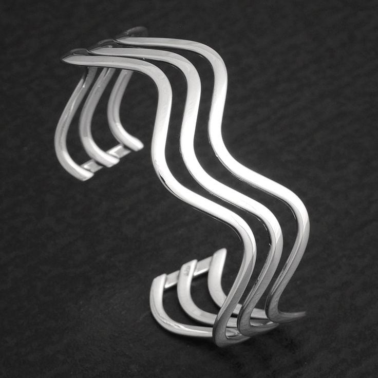 Armspange Silber dreireihig Wave
