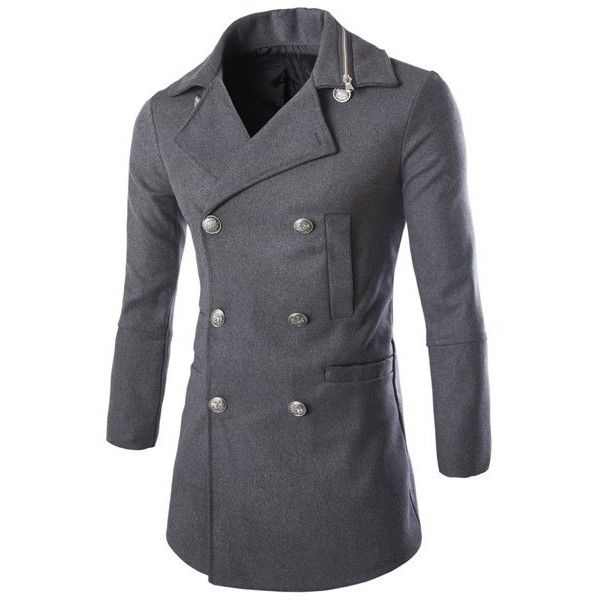 Personality Zippered Turn-down Collar Patch Pocket Long Sleeves Men's... ($39) ❤ liked on Polyvore featuring men's fashion, men's clothing, men's outerwear, men's coats, mens peacoat, mens coats, mens pea coat jacket and mens wool peacoat
