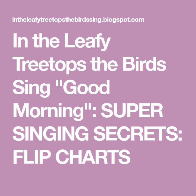 """In the Leafy Treetops the Birds Sing """"Good Morning"""": SUPER SINGING SECRETS: FLIP CHARTS"""