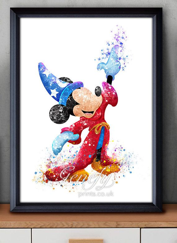 Disney Sorcerer Mickey Mouse Watercolor Art Print  by GenefyPrints
