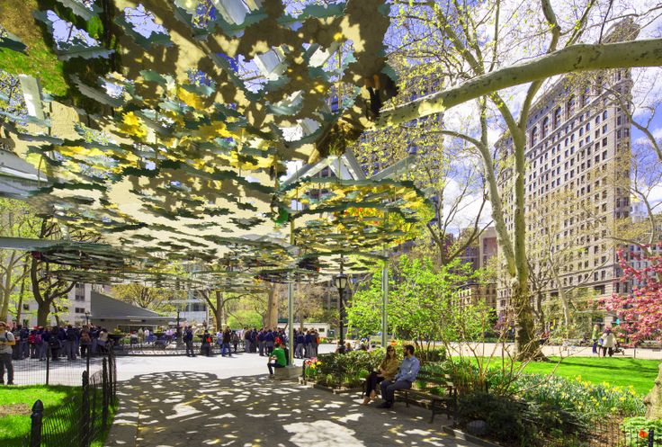 teresita fernández suspends a mirrored mirage above madison square park