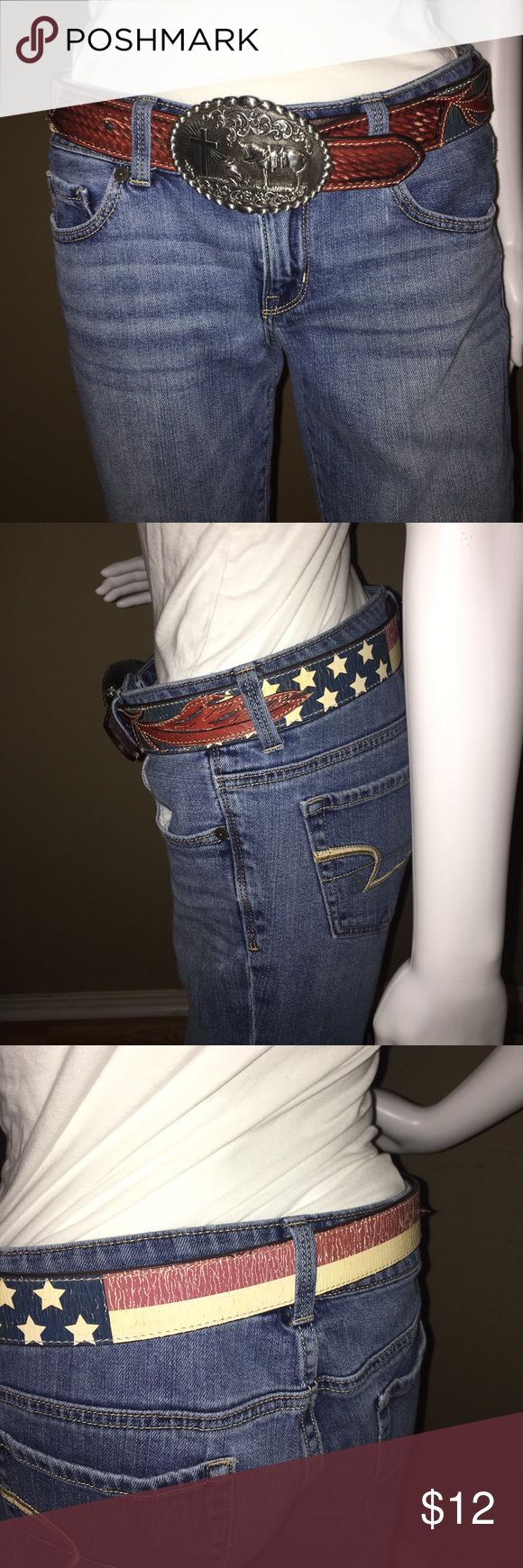 American flag print belt Belt American flag style with loan cowboy and horse buckle Accessories Belts
