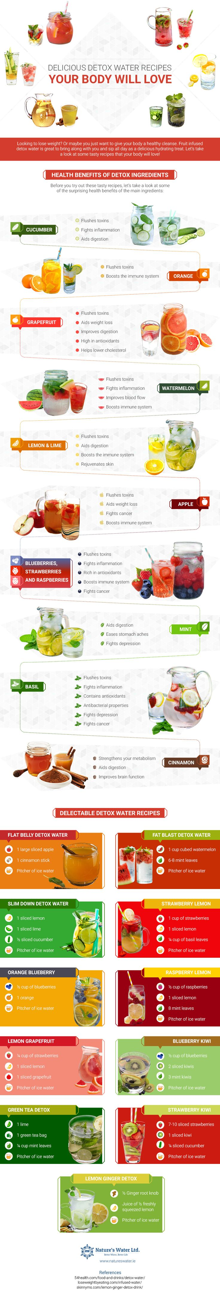 1.8Kshares 106Facebook 2Twitter 1.7KPinterestBy Nature's Water Looking to detox and lose weight? Or maybe you just want to give your body a healthy cleanse? Fruit infused detox water is great to bring along with you and sip all day as a delicious hydrating treat. Let's take a look at some tasty recipes that your body …