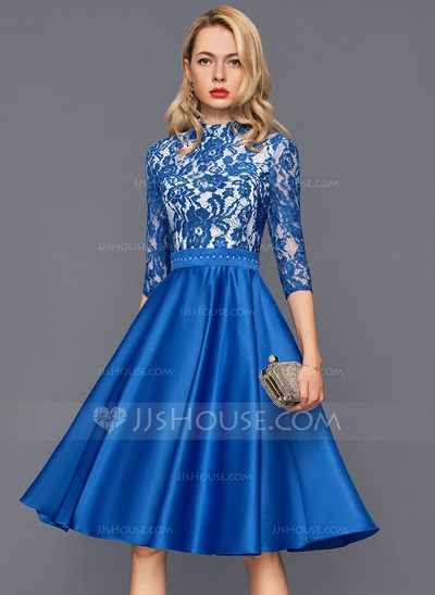 9410332be4 A-Line/Princess High Neck Knee-Length Beading Zipper Up Sleeves 3/4 Sleeves  No Royal Blue Winter Spring Summer Fall General Plus Satin Height:5.8ft ...