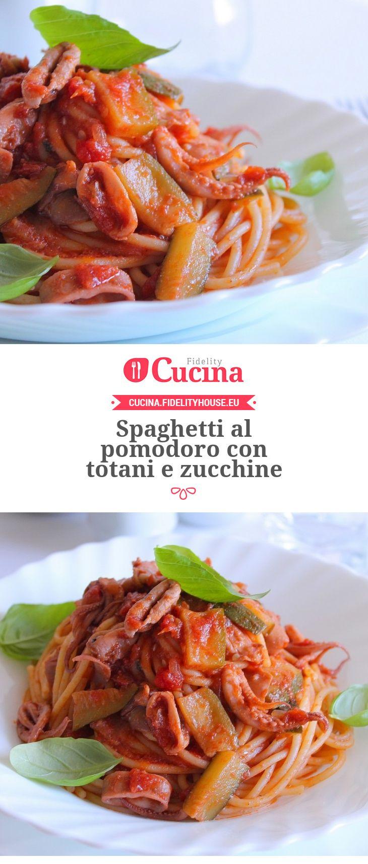 #Spaghetti al #pomodoro con totani e #zucchine