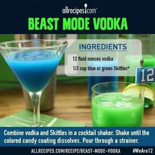 Beast mode vodka ( 12 ounces of vodka and 1/2 cup blue or green skittles combine in cocktail shaker and shaker until the colored candy coating is gone from the skittles strain and drink)