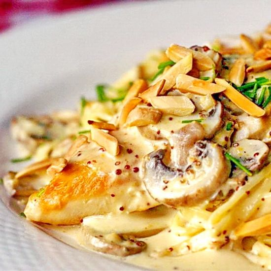Dijon Chicken Linguine with Chanterelle Mushrooms and Toasted Almonds