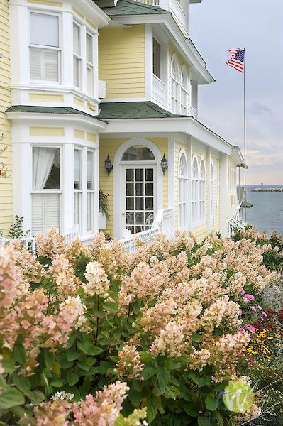 Fall garden with hydrangea, Main Huron St., Mackinac Island, Michigan