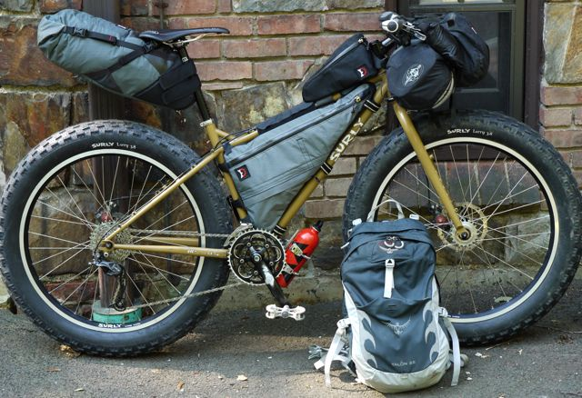 Surly Pugsley with a full Bikepacking load