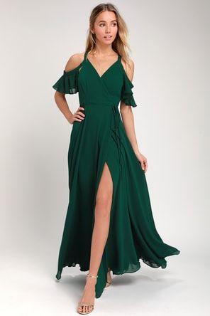 8c533d6e2a06 Easy Listening Forest Green Off-the-Shoulder Wrap Maxi Dress