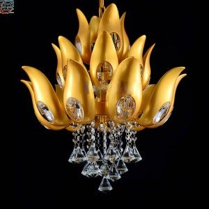 Floral Design Gold - Krystall lysekrone