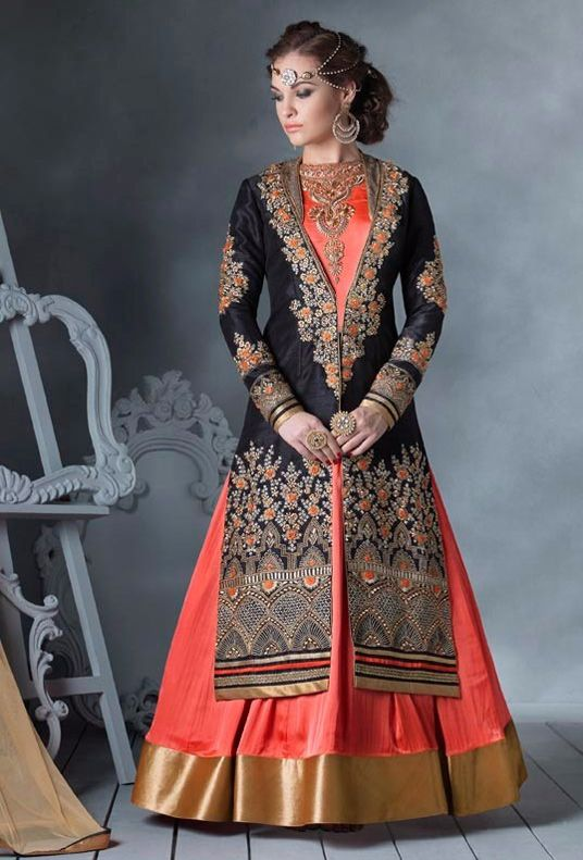 Peach Faux Georgette Indo Western Anarkali Suit With Jacket 57561