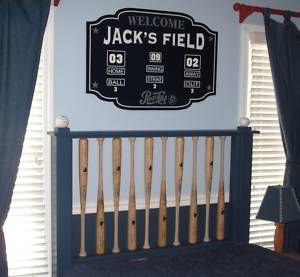 scoreboard sign and baseball bat headboard @kayleebrown-jarvis