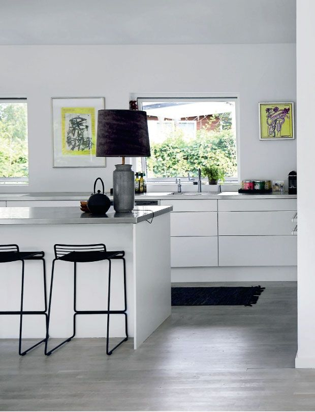 modern sleek white kitchen, Hay Hee bar stools