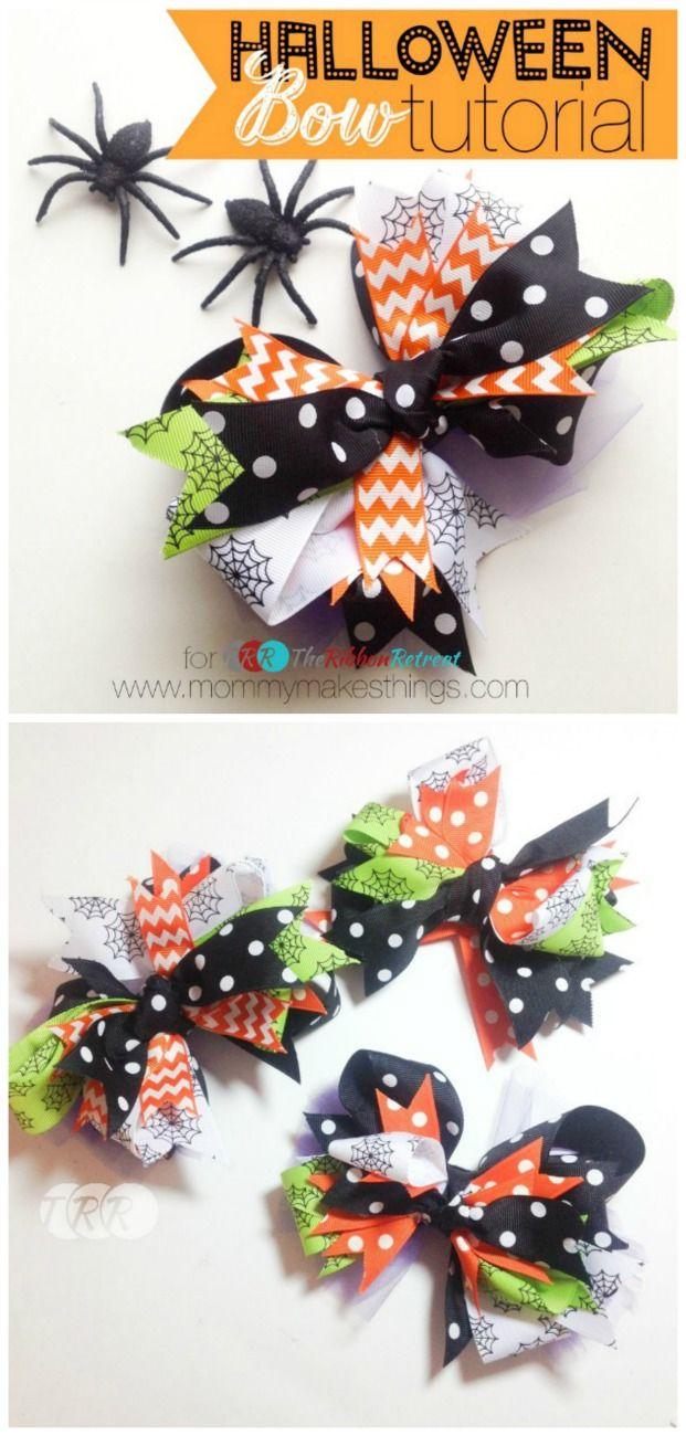 DIY Stacked Halloween Bow - The Ribbon Retreat Blog