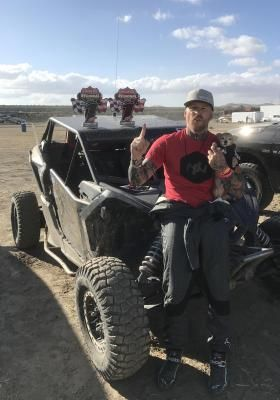 Jason Ellis (pictured with Chicky his dog) won rounds 10 and 11 of the Lucas Oil Regional Off-Road Racing Series in his Can-Am Maverick X3 Turbo R side-by-side vehicle.