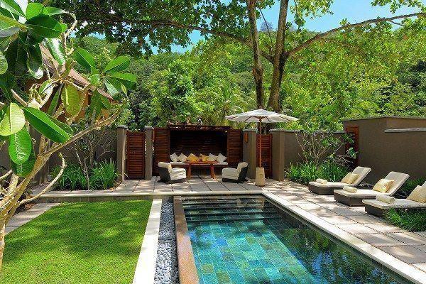 Design minimalista de piscina pequena com belo jardim dentro de 07   – Backyard Pool Ideas