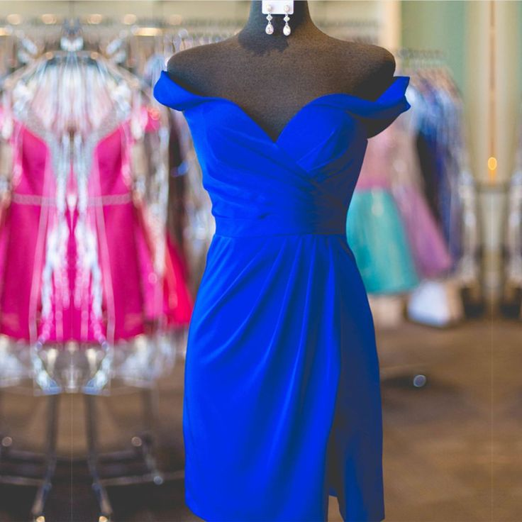 off shoulder party gowns,sheath homecoming dress,royal blue cocktail dress