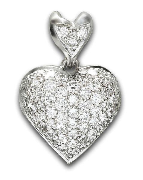 Estate 'Birks' Diamond Heart Pendant