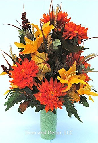 Cemetery flower arrangements~Cemetery cones~flowers for grave vase We are happy to present this beautiful #Fall/Thanksgiving flower arrangement for Fall/Winter 2...
