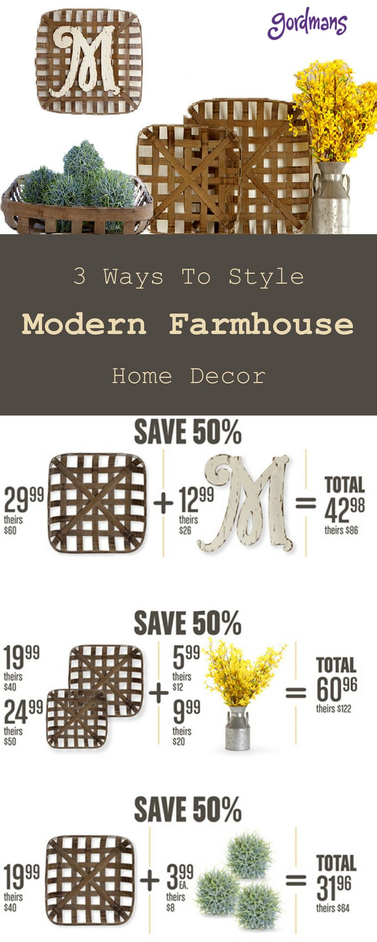 Give your home a makeover with rustic and modern Farmhouse décor from Gordmans. Make your room meaningful with personal touches such as tobacco baskets that can be styled many different ways. Use the tobacco basket as a basket or hang on the wall for an extra touch. Find tobacco baskets for any room in your home at Gordmans.