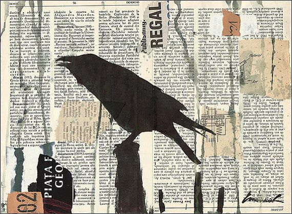 Print Art Mixed Media Art Collage Raven Crow Painting by rcolo, $10.00