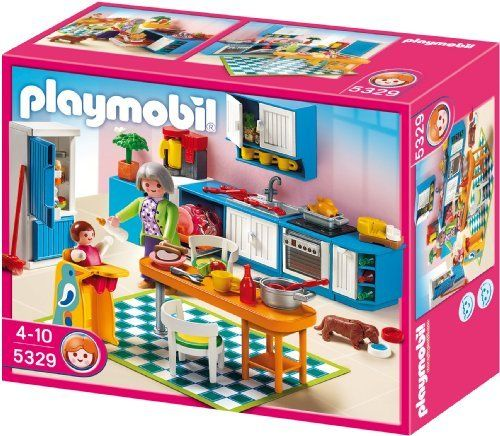 Playmobil Grand Kitchen by Playmobil. $37.52. 9.8 x 7.9 x 3.9 inches. With a refrigerator, dish washer, oven and stove, the Playmobil Grand Kitchen is well equipped for preparing meals for the Playmobil family. The set includes a figure, baby and high chair, dog with bowl, coffee maker, table and chairs, and many other realistic equipment and accessories for the kitchen. Play with this set alone or use it to furnish the Playmobil Large Grand Mansion (5302).