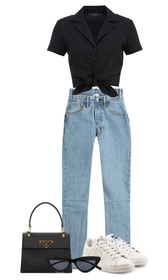 """Look:#617"" by dollarwomanlux ❤ liked on Polyvore featuring Vetements, Prada, adidas and Hallhuber"