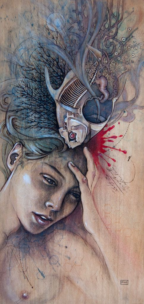 """""""Headache"""" – pyrography with natural pigments, and pastel on wood by Fay Helfer"""