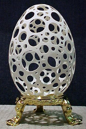 Goose Egg carved with Holes - amazing!