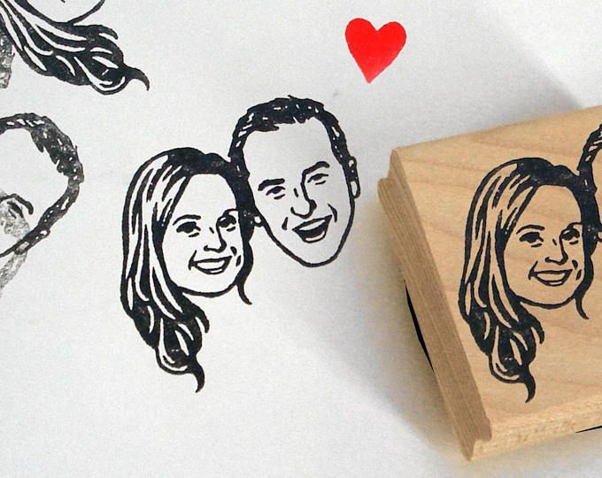 Custom portrait Personalized gift Save the date / illustrated portraits stamp invitations / Custom Gifts for couple mr mrs / wedding