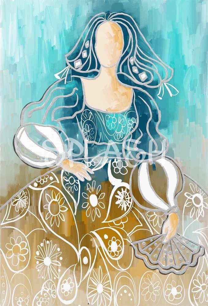 Cuadro de Menina turquesa sepia y plata abstracto decorativo SP191