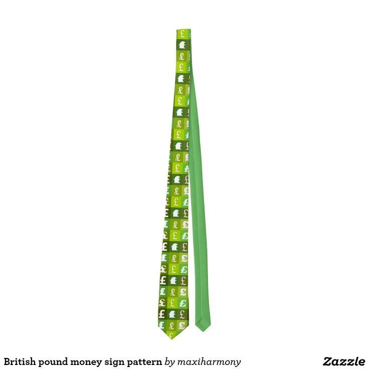 British pound money sign pattern tie