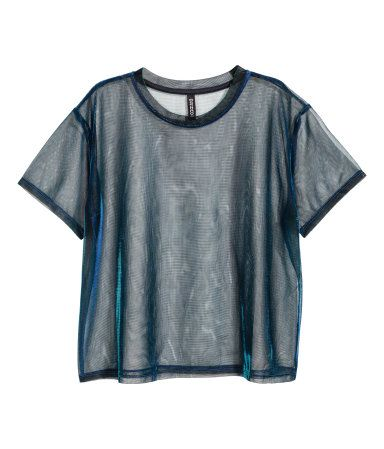Blue-green. Short-sleeved top in shimmering, sheer mesh. Unlined.