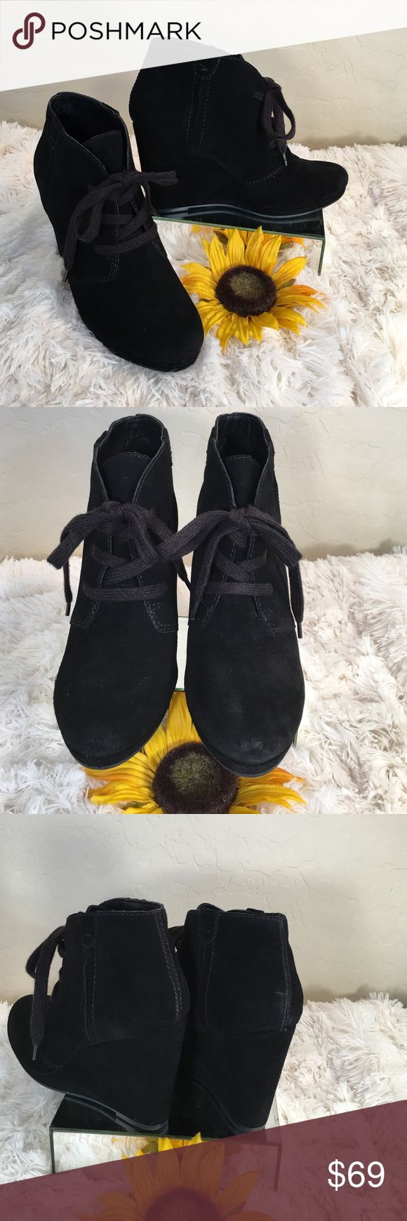 """Dolce Vita Brand New Black Suede Wedge Boots Dolce Vita NEW Chic Black Suede Lace up Wedge Boots!  Cool & Casual with a a comfortable 4"""" Wedge Heel. Comfortable Rubber sole! Dolce Vita Shoes Ankle Boots & Booties"""