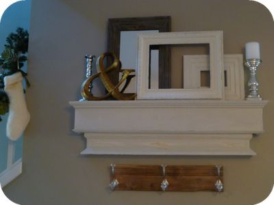 Pottery Barn inspired ledge, ampersand, backless frames and mirror.