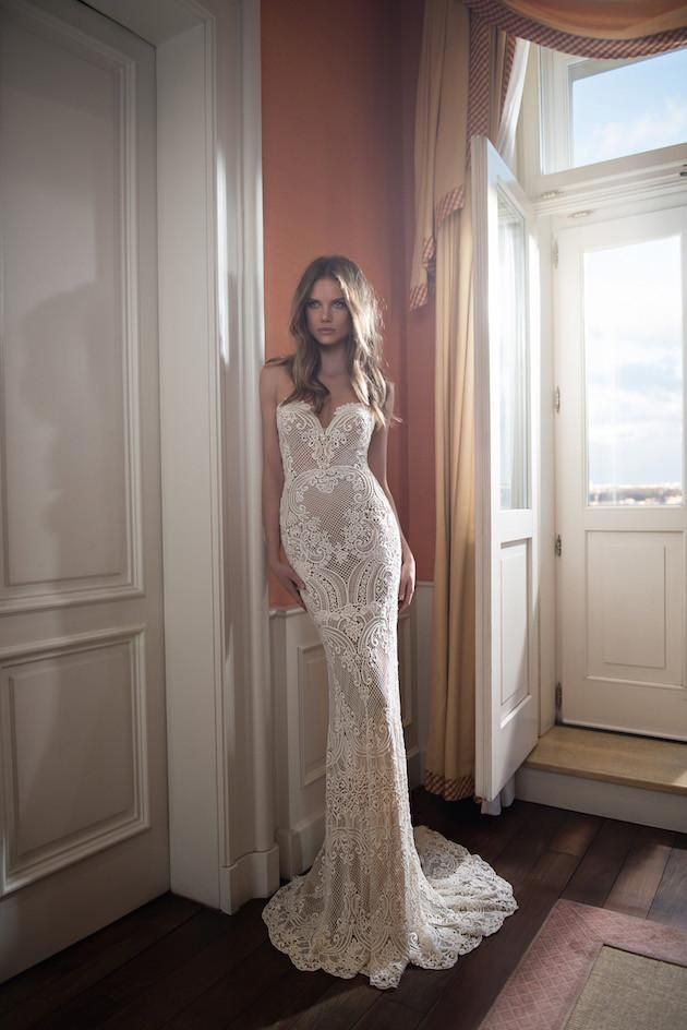Berta 2016 Full Lace Backless Wedding Dresses Mermaid Sweetheart Neckline Illusion Bodice Sweep Train Pearls Sexy Open Back Bridal Gowns