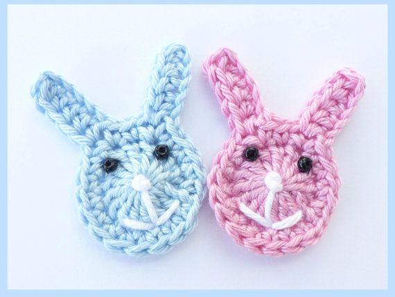 Crochet applique, 2 large crochet bunnies, cards, scrapbooks, appliques and embellishments