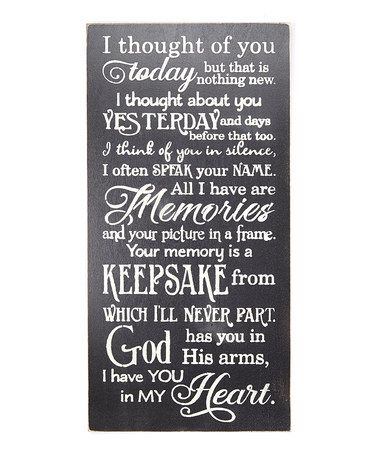 Another great find on #zulily! Black 'I Thought of You Today' Wall Sign #zulilyfinds