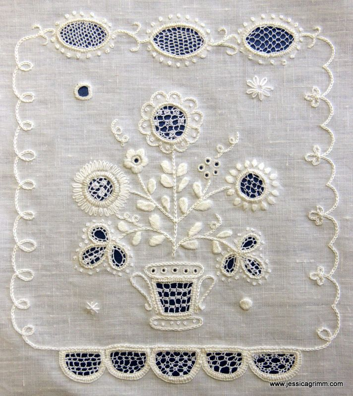 Silesian white work sampler featuring surface embroidery