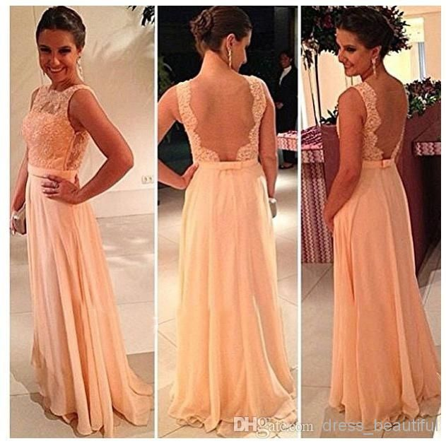 Wholesale Prom Dresses - Buy Beautiful Peach Color New A-Line Backless Prom Dresses Lace Floor Length Long Chiffon Nude Back Evening Bridesmaid Dress Brides Maid Dress, $114.0 | DHgate