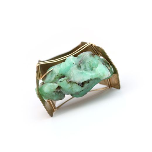 Cosmic ring, statement brass ring with Brass, chrysoprase and gold fill 14k