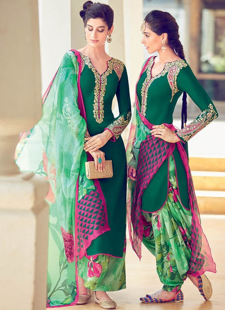 Deep Bottle Green Straight Cotton Satin Suit