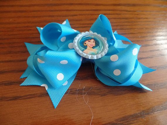 Boutique style puffy hair bow with bottle cap accent Jasmine