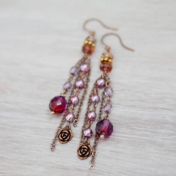 Cristal checo rosa púrpura perlas y antiguo Cluster cobre