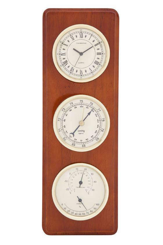 Wooden Weather Station Clock Barometer Thermometer