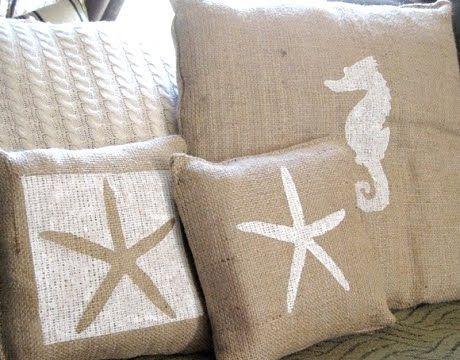Painting pillows coastal style.