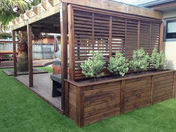 This planter is perfect for privacy round a spa ! Box is 740mm h x3m long and 500mm w , comes with a base that can be height adjusted.