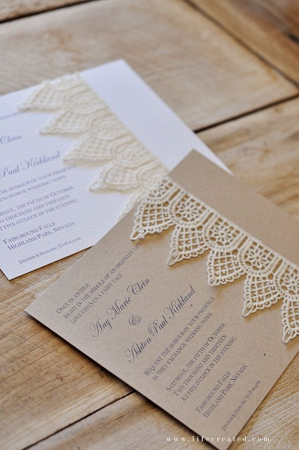 Love the lace trim on these handmade wedding invitations!